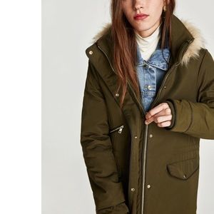 Zara | Water Repellent Quilted Parka Jacket